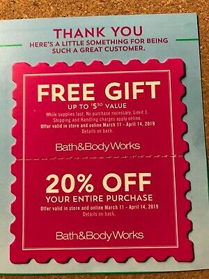 Bath and Body Works Coupons  (2) 20 %  Off   Plus  shipping included