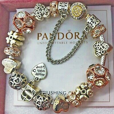 "Authentic PANDORA Bracelet Silver Bangle with ""Love Story"" European Charms"