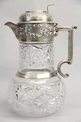 Antique W&G Sissons Sterling Crystal Claret Jug Ewer Sheffield England Repousse
