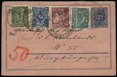 Germany 1923 Berlin Inflation Rohrpost Pneumatic Stationery Cover 82653