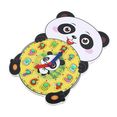 Panda Shape Wooden Early Educational Toy 12 Number Geometry Clock Block Puzzle