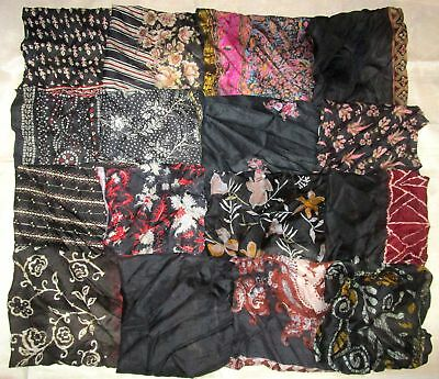 ! LOT PURE SILK Antique Vintage Sari Fabrics REMNANT 16 pcs 8 inch SQUARES BLACK