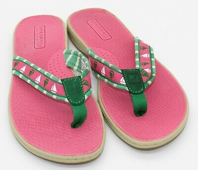 f5d52704922 Sperry Top Sider womens Thong Sandals Preppy Pink Green Sailboats Flip Flops  8
