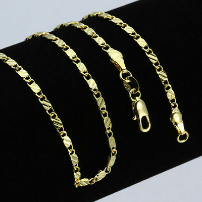 """16-28"""" Men Women 18K Gold Plated Stainless Steel 2mm Flat Mariner Chain Necklace"""