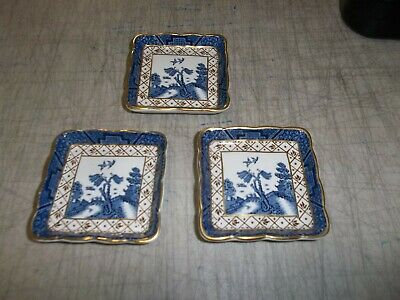 Set Of 3 Vintage Booths Real Old Willow 3 X 3 Square Butter Dishes /gold Trim