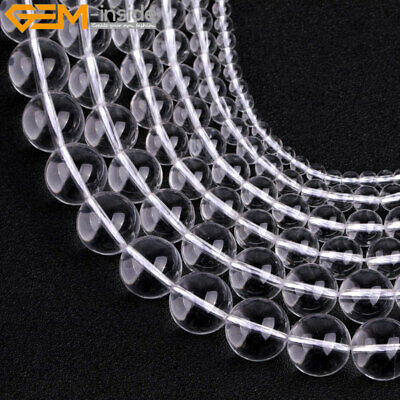 "AAA Natural Round White Clear Rock Qaurtz Loose Beads For Jewelry Making 15"" DIY"