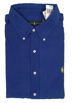 NEW Polo Ralph Lauren Shirt! Blue with Yellow Polo Player Soft Finewale Corduroy