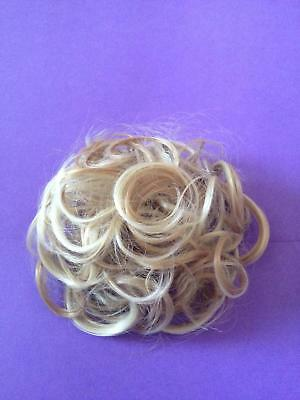 Light Blonde + Light Brown Highlight  Curly Hair Scrunchie Pony Tail Hair Piece