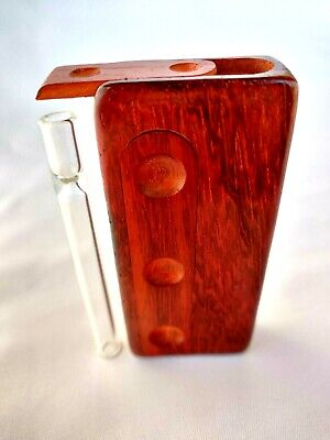 "Redwood Stash Box w/ 3"" Glass One Hitter Pipe, Slide Lid Dugout, Glass Chillum"