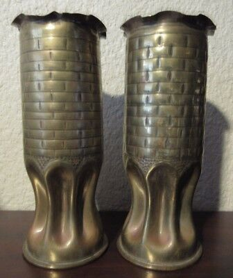 Matching Pair of WWI Trench Art Artillery Casing Vases - #1 Brick Style