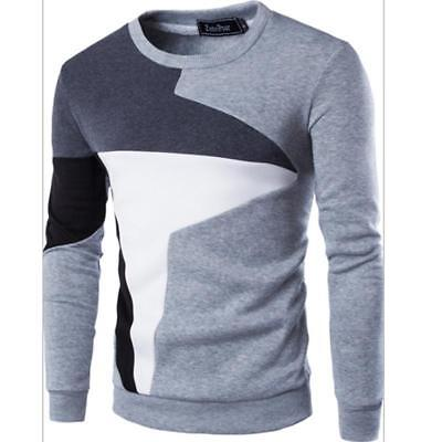 Men Casual Shirts Crew Neck Long Sleeve T Shirt Cotton Tee Pullover Top B