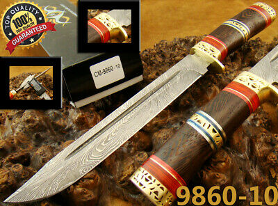 "13.3"" Superb Handmade Damascus Steel Tactical Hunting Bowie Knife New! (9860-10R"