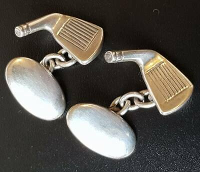 Vintage Art Deco Sterling Silver Heavy Golf Cufflinks