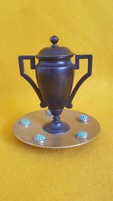 Antique C19th Victorian Bronze Urn Inkwell w Brass Turquoise Jewelled Base