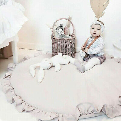Kids Crawling Mat Round Baby Activity Floor Rug Blanket Game Play Decor UK W0D4M