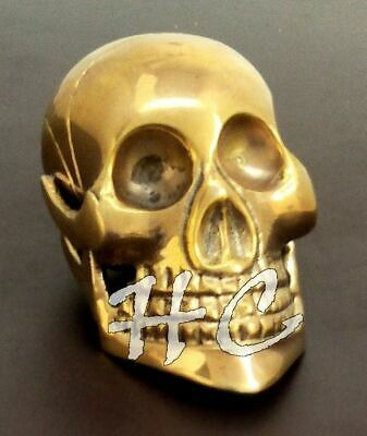 Solid Brass Skull Big  Handle Handle Vintage  Wooden Walking Stick Cane