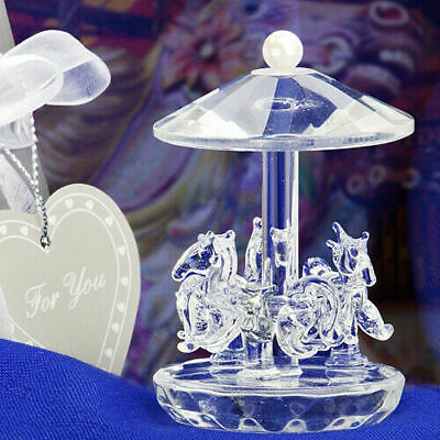 'Thank you Gift' - Choice Clear Crystal Horse Carousel Ornament - Gift Boxed