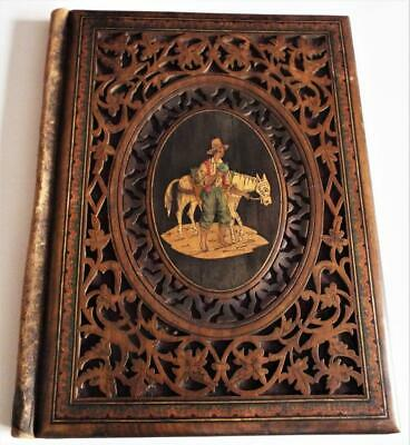 Antique Sorrento Ware Desktop Folio Folder Peasant Scene Italian Olive Wood
