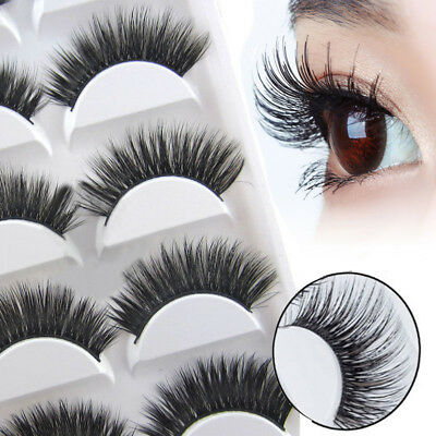 5 Pairs 3D Soft Long Natural Thick Makeup Eye Lashes False Eyelashes Extension