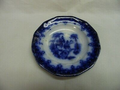 1800's Antique Scenic FLOW BLUE Transferware CUP PLATE Butter Pat / Troy Meigh