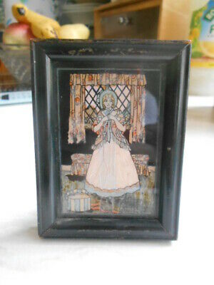 framed genuine panama butterflies 'lady' on rest stand