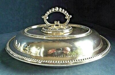"SUPERB Large 11"" ~ SILVER Plated ~ SERVING DISH ~ c1910 by Horace Woodward"