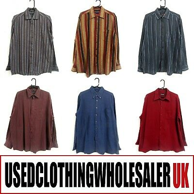 50 Men's Vintage Mixed Plain & Stripe Flannel Shirts Wholesale Clothing Joblot