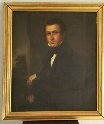 Antique Oil Painting PORTRAIT of GENTLEMAN Circa 1850 Oil on Board