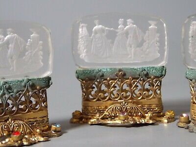 (3) Antique Art Deco Czech Clear Jeweled Glass Intaglio Place Card Holders