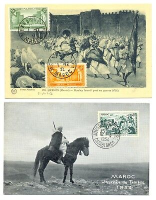 MAROC -MOROCCO 1932/54--2 x PPC -STAMP ON FRONT -NOT MAILED --VF