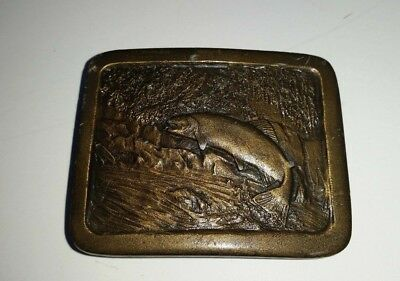 Vtg 1977 TROUT Fish Swimming Upstream Indiana Metal Craft Belt Buckle Brass