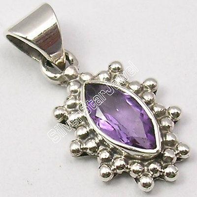 925 Solid Silver High End MARQUISE PURPLE AMETHYST HANDCRAFTED Pendant 2.4 CM