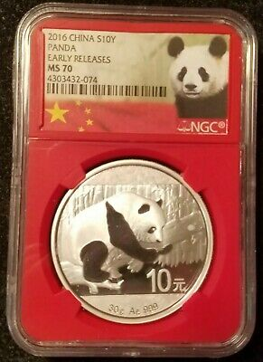 2016 China Silver 10 Yuan Panda NGC Early Releases MS70 *READ DESCRIPTION*