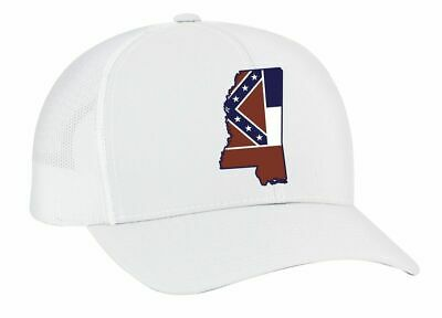 b5460aa89 HERITAGE PRIDE MISSISSIPPI State Flag Embroidered Trucker Mesh Snapback  Hat-Whit