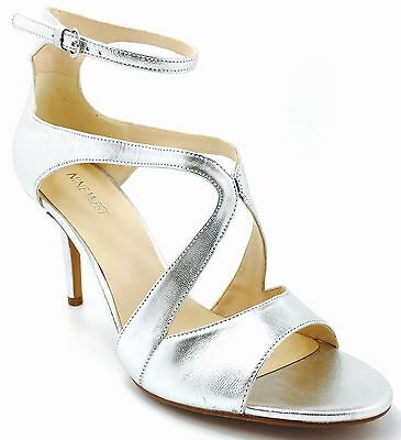 3eeb65f839 Nine West Gerbera 10 M Silver Leather Strappy Open Toes Ankle Strap Sandals  New