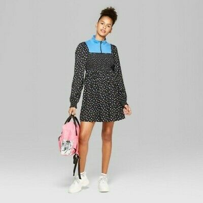 181283df10 NEW Wild Fable Women s Square Neck Smocked Top Floral Dress - Blue - Size S