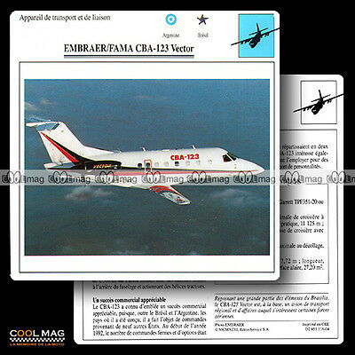 #116.04 EMBRAER FAMA CBA 123 VECTOR - Fiche Avion Airplane Card