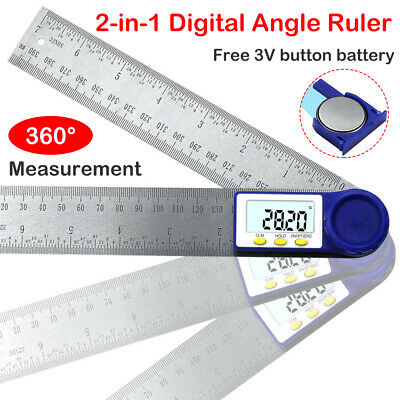 "2 in 1 200mm 8"" 360 Degree Digital Angle Rule Ruler Gauge Protractor Goniometer"