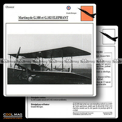 #104.17 MARTINSYDE G 100 & G 102 ELEPHANT (Biplan) - Fiche Avion Airplane Card
