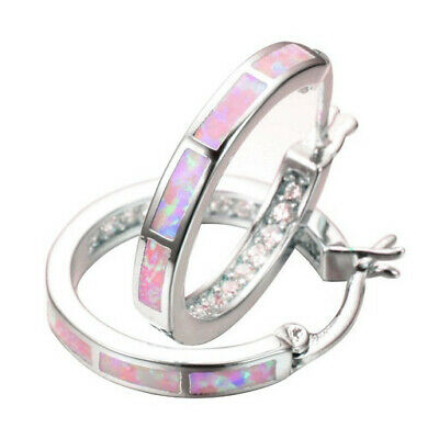 1 Pair Woman Fashion 925 Silver Pink Fire Opal Charm Stud Earring NEW Jewelry ~~