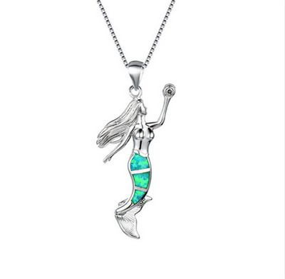 Fashion Woman 925 Silver Mermaid Green Fire Opal Charm Pendant Necklace Chain ~~