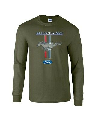 Mens Ford Mustang T Shirt Ford Mustang Pony & Stripes Long-Sleeve Classic Cars