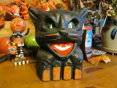 NEW Vintage Scary Halloween Black Cat on Fence, Paper Mache Lantern 7 1/4""
