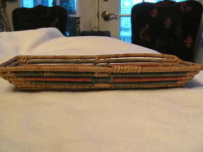 Antique Handmade Indian Coil Basket , Small Rectangle in Red & Blue Colors