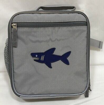 "d7dc56167c722d POTTERY BARN KIDS Solid Gray Fairfax Classic Lunch Bag ""Shark"" Patch ..."