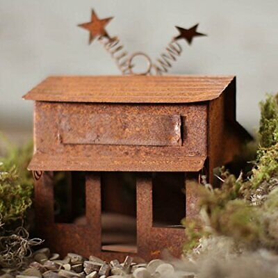 Trio of Rustic Metal Old Time Look Village Stores for Your Fairy Garden or Gnome