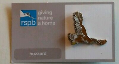 RSPB ENAMEL BADGE ~ BUZZARD - Bird Charity