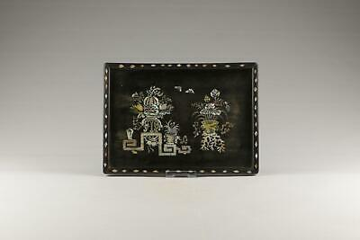 Antique 19/20thC Qing Chinese Hardwood Mother-of-Pearl Inlay Pictorial Tray