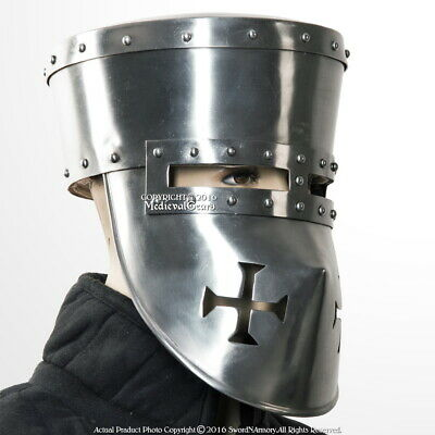 Functional 16G Crusader Knights Templar Basket Helmet Great Helm WMA SCA LARP