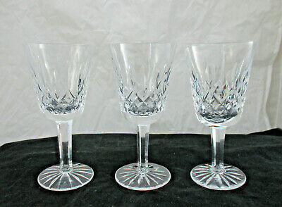 "Lot of 3 Waterford Lismore 5.5"" White Wine Stem Crystal Goblets Old Script Mark"